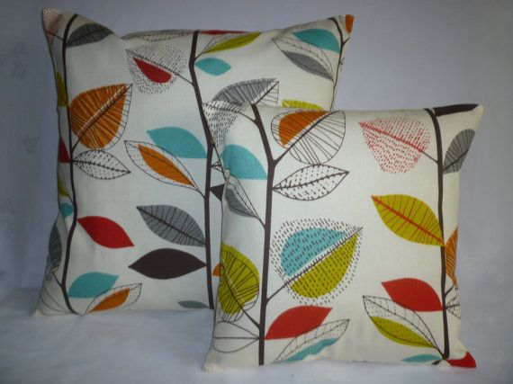 "BIG 22""  and 16"" Orange Blue Green Designer Cotton Cushion Covers.Pillowcases Shams Slips"