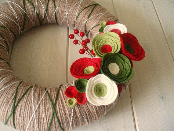 Yarn Wreath Felt Handmade Holiday Door Decoration  by ItzFitz, $45.00