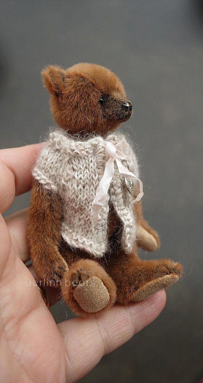 """Pippi, miniatuur karamel bruin 4"""" kunstenaar Teddy Bear door Aerlinn Bears"""