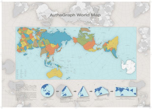 World maps are notoriously distorted, but the AuthaGraph minimizes the effect.
