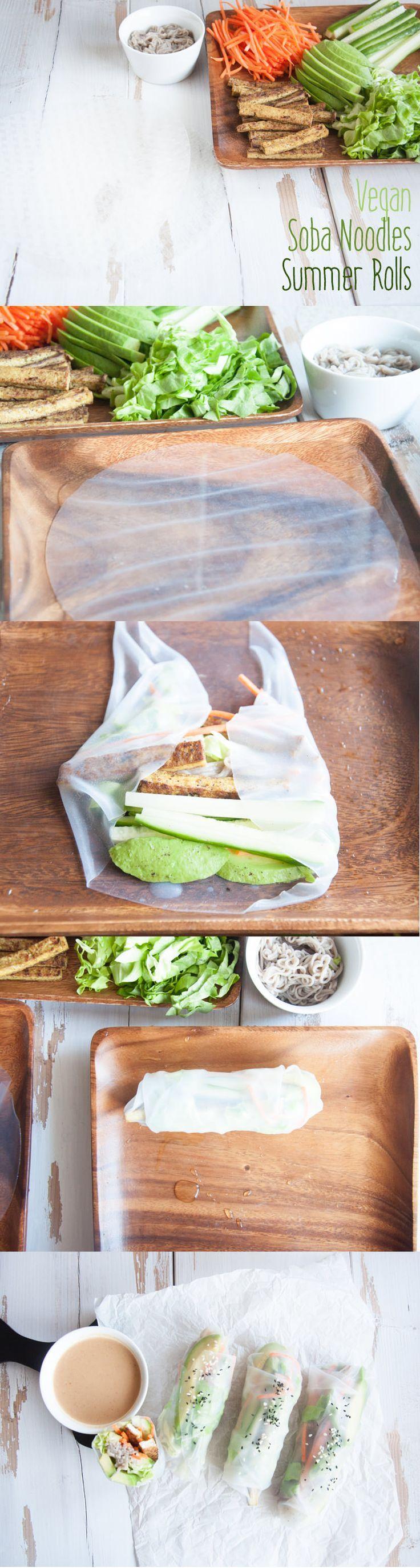#Vegan & #glutenfree Soba Noodles Summer Rolls, filled with crispy tofu, avocado, veggies and soba noodles! From ElephantasticVegan.com