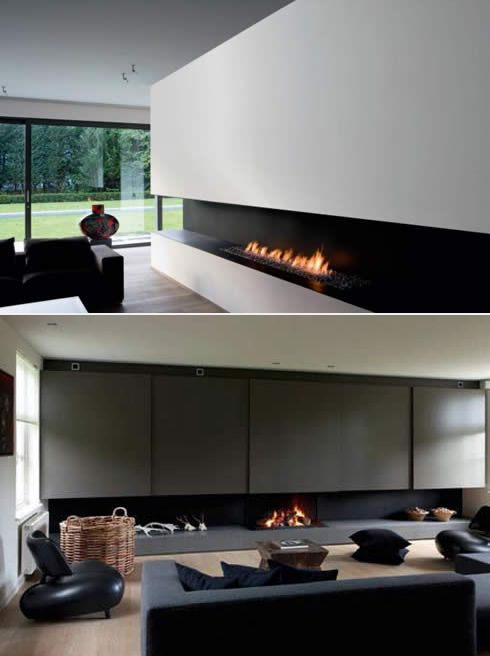 Metalfire fireplaces. Love the long opening