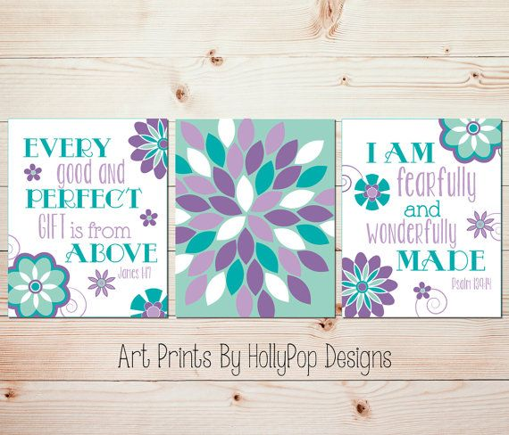 Nursery Art Purple Turquoise Mint Nursery Baby Girl Nursery Art by HollyPopDesigns, $30