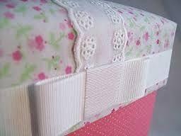 Cajas forradas de tela de saco buscar con google cajas - Cajas de carton decoradas para bebes ...