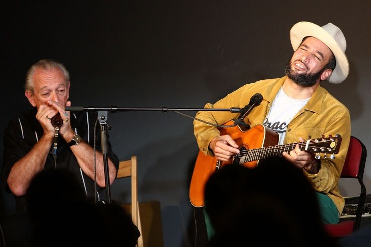 Charlie Musselwhite and Ben Harper have themselves a good old fashioned jam session during the GRAMMY U Off The Record With Ben Harper And Charlie Musselwhite event on Oct. 3 at The Recording Academy headquarters in Santa Monica, Calif.: Photo
