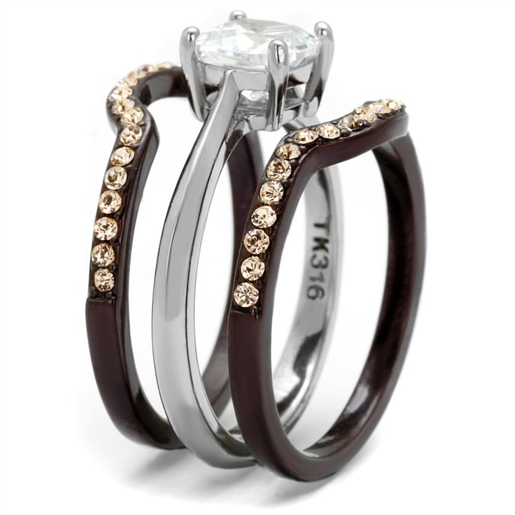 Latest Trending Camo Wedding U0026 Engagement Ring Sets Tungsten Carbide Grooms  Band Womenu0027s Chocolate Plated 3 Ring Set Featuring A Stunning Princess Cut  AAA ...