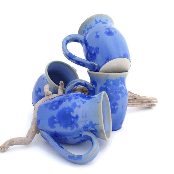 Blue Coffee Mugs with Bright Blue Crystals by SunbirdPottery