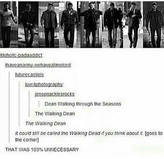 It's funny because Dean died 103 times in the mystery spot.