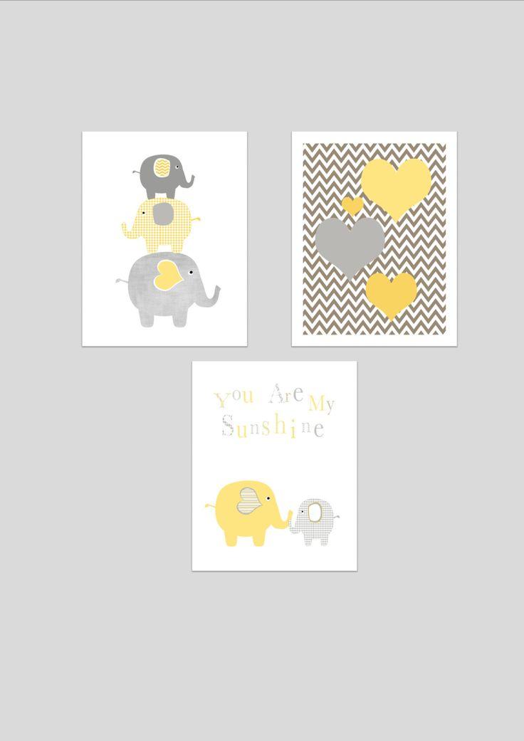 Blue Elephants printable nursery art set, instant download, elephant nursery art, grey and baby blue nursery decor, elephants nursery decor. £10.00, via Etsy.