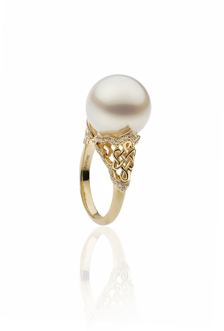 Autore Fine Eternal Knot Ring  18k Yellow Gold with Diamonds and South Sea pearls. Inspired by the Forbidden City in Beijing