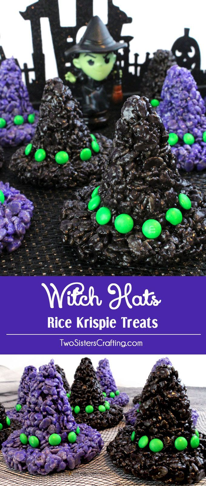 These Witch Hats Rice Krispie Treats will be everyone's favorite treat at your Halloween Party. They are super easy to make and are a spooky and fun Halloween Dessert that every one will love. Pin this adorable Halloween Treat for later and follow us for more fun Halloween Food Ideas.