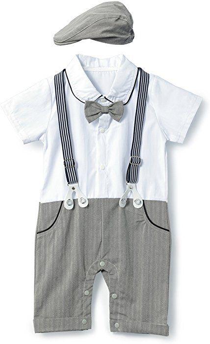 a222c5895 Amazon.com: HeMa Island HMD Baby Boy Gentleman Bowtie Tuxedo Onesie  Jumpsuit Overall Romper with Hat (0-18M) (Grey, 70(3-6 Month)): Clothing