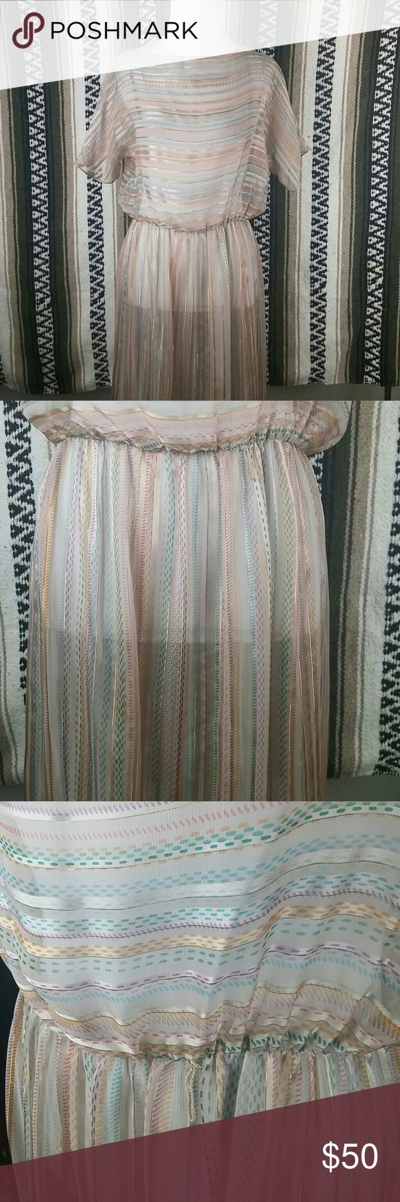 Sheer nude mod vintage stripped flowy dress Gorgeous vintage dress.  Sheer ( see through ) nude with metallic gold stripes and light colored pattern stripes.  Has belt loops. Tag doesn't say size or any fabric info. In perfect condition. No stains or runs. Tag reads : Lizzy & Johnny  By Lucero vintage  Dresses Midi