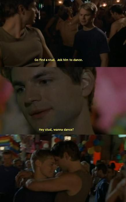 "Queer as Folk 2x04 - Justin says ""shut up"" Brian grabs  his arm and says ""I promise you won't forget this one""."