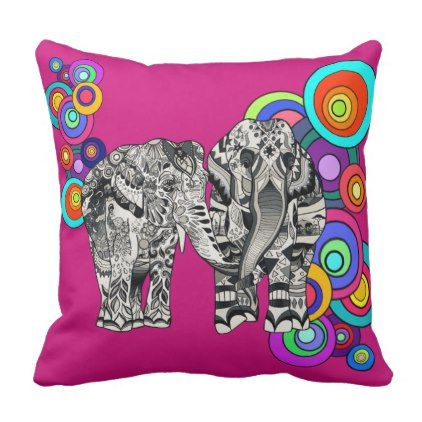 #Prismatic Elephants Throw Pillow - #trendy #gifts #template