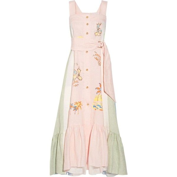 Peter Pilotto Embroidered paneled linen maxi dress ($1,024) ❤ liked on Polyvore featuring dresses, pastel pink, multi color maxi dress, multi coloured dress, embroidered maxi dress, embroidery dresses and linen dress