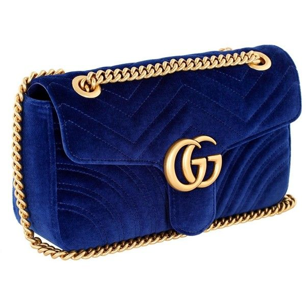 d78bb23cc2f491 Gucci Blue velvet small Gg Marmont 2.0 shoulder bag (122295 RSD) ❤ liked on  Polyvore featuring bags, handbags, shoulder bags, blue shoulder bag, ...