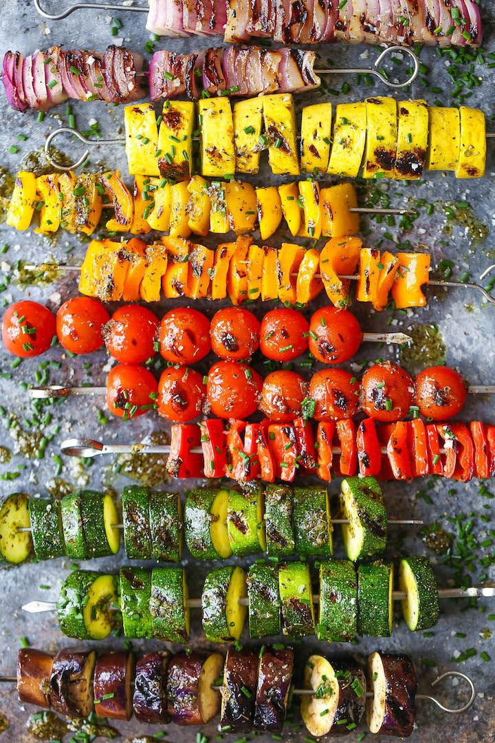 Rainbow Vegetable Kabobs | With a simple marinade using pantry ingredients, these kabobs are so colorful, vibrant, flavorful and sure to please everyone! @damndelicious