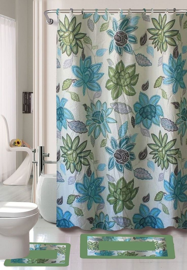 Gorgeous Home 15PC LILY TURQUOISE BLUE GREEN FLOWER LEAFS DESIGN BATHROOM BATH MATS SET RUG CARPET
