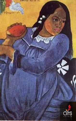 gaugain. woman with mango. This was my nanas favorite painter I foun a note in the book after she had passed away...