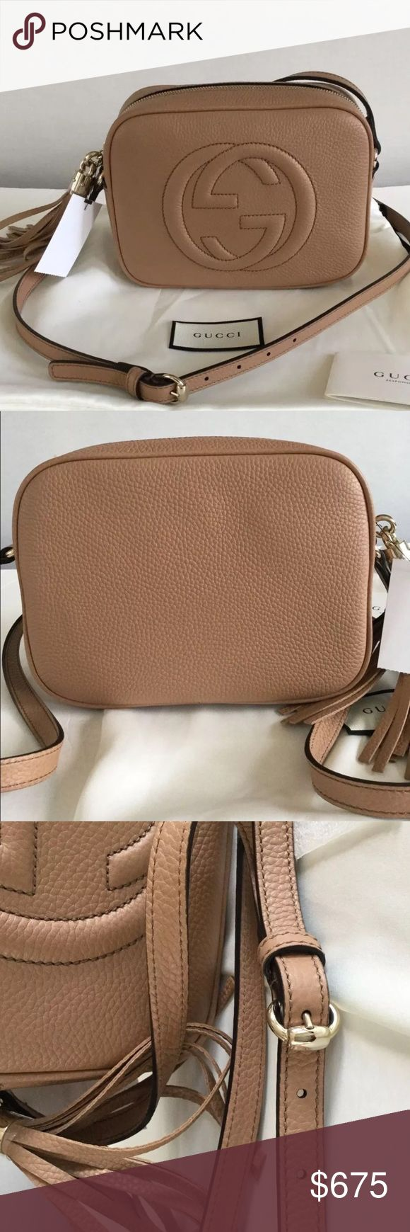 Gucci Soho Disco Crossbody Bag Beige 100% Authentic 🔺 We are a very negotiable service 🔺 We provide overnight shipping and express shipping 🔺 Our transactions are made through third party applications 🔺 If you are interested in buying this product please contact us via 646-431-6521 🔺 Gucci Bags Crossbody Bags
