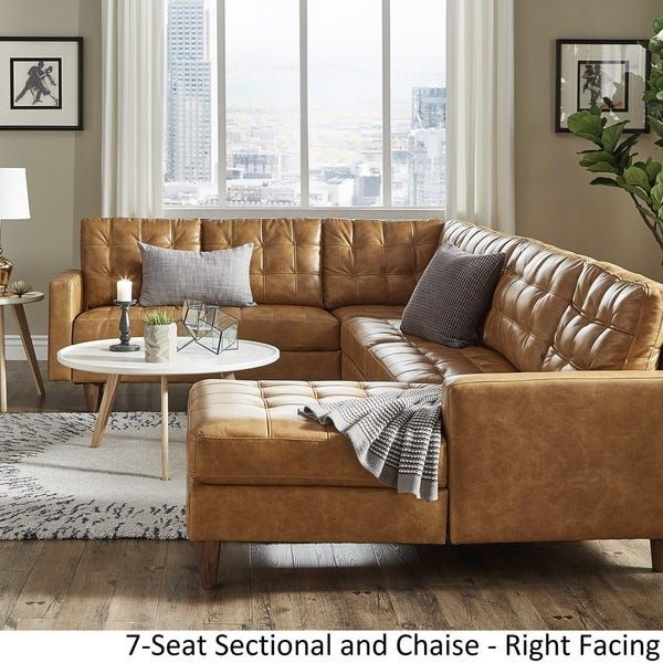Odin Caramel Leather Gel L Shape Sectional With Chaise By Inspire Q Modern In 2020 Leather Sectional Sofas Living Room Styles Living Room Sectional