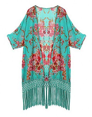 Bigbigfuture Women's Tassel Coverup Print Cover up Swimsuit Coverups Kimono Cardigan (Teal Green) Big Big Future http://www.amazon.com/dp/B00ZN0AZ66/ref=cm_sw_r_pi_dp_BJPnwb1SDSJ1B