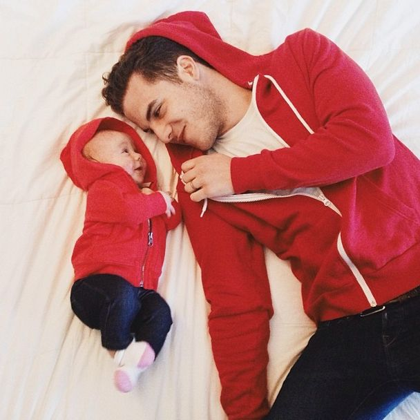 """""""You change."""" """"No, you change!"""" my husband has had a red hoodie as a staple in his wardrobe his whole life, so my mother-in-law started the baby with her own too."""
