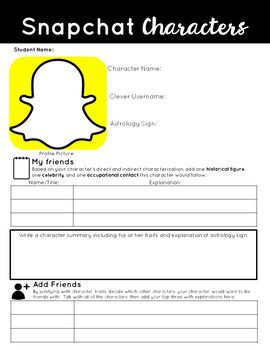 Snapchat Character Profile and Elements of Literature Activity
