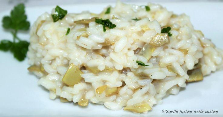 Risotto ai carciofi. Ricetta con pentola a pressione per poter gustare un ottimo risotto anche quando non si ha tempo per le lunghe preparazioni.