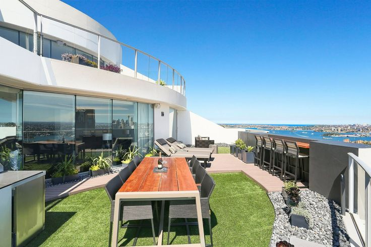 North Sydney Penthouse Entertaining Terrace, designed by Jodie Carter Design. Photo by Savills Real Estate, Double Bay
