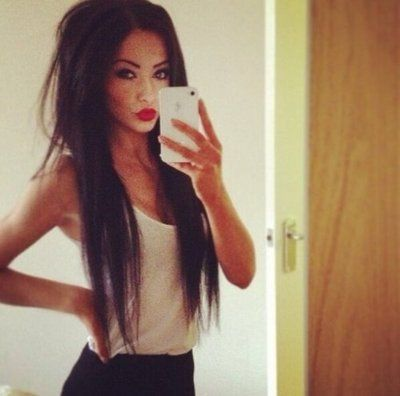 sexy girl red lips black brown hair long straight