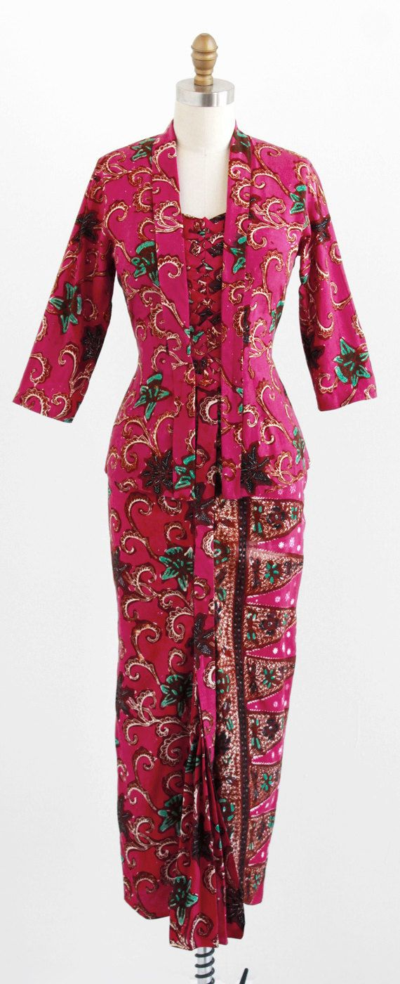 Dress and Jacket: ca. 1940's, hand-dyed batik print cotton.