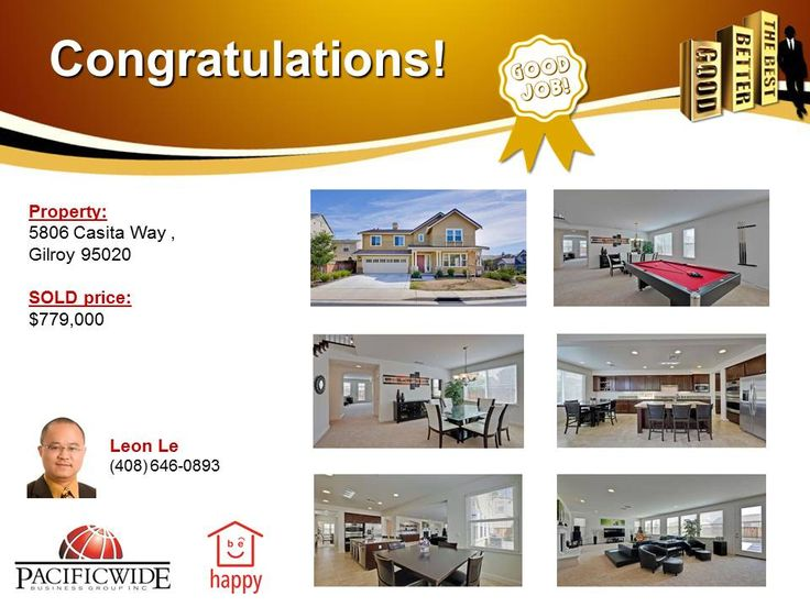 Congratulations Leon Le! Great job in assisting Triet & Hanh to sell this beautiful house in Gilroy with a good price. Way to go, keep it up! Thank you Triet & Hanh for trusting Leon & Pacificwide. It's been an enjoyable time for us to work with you. You can always count on us in the future if you need any help related to real estate/ mortgage. Have a wonderful day!
