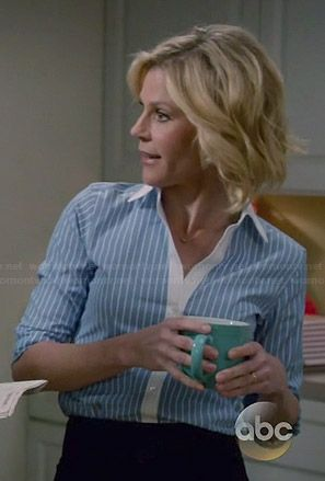 Wide Stripe Dress Shirt In 2020 Modern Family Julie