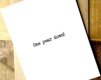 Eerste verjaardag kaart - eerste verjaardag kaart echtgenoot - eerste verjaardag - vriendje Card - liefde kaart - één jaar omlaag!