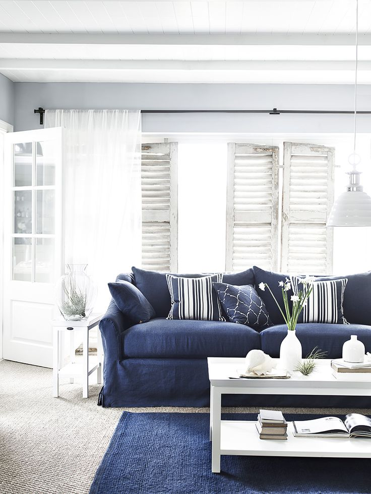 Long Island sofa in Brancaster Navy & Aldwych coffee table #coastalliving #navy #white #stripes www.neptune.com