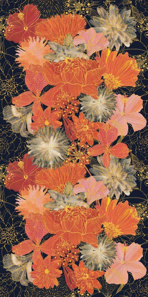 Laura Elder_Hot Florals Wallpaper in 2019 Textile prints