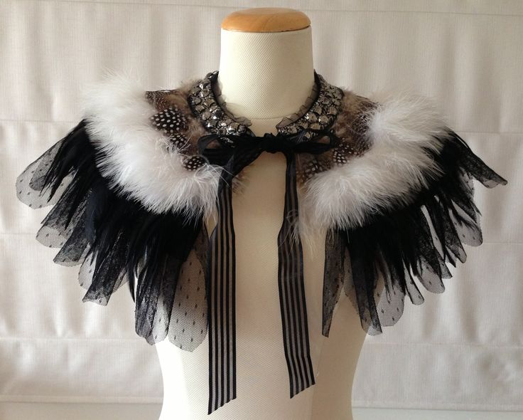 Rock Chic Black and White spot feather cape, feather cape