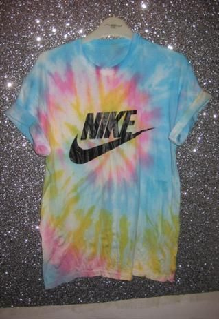 Customised tie dye nike tshirt skater grunge trash hipster