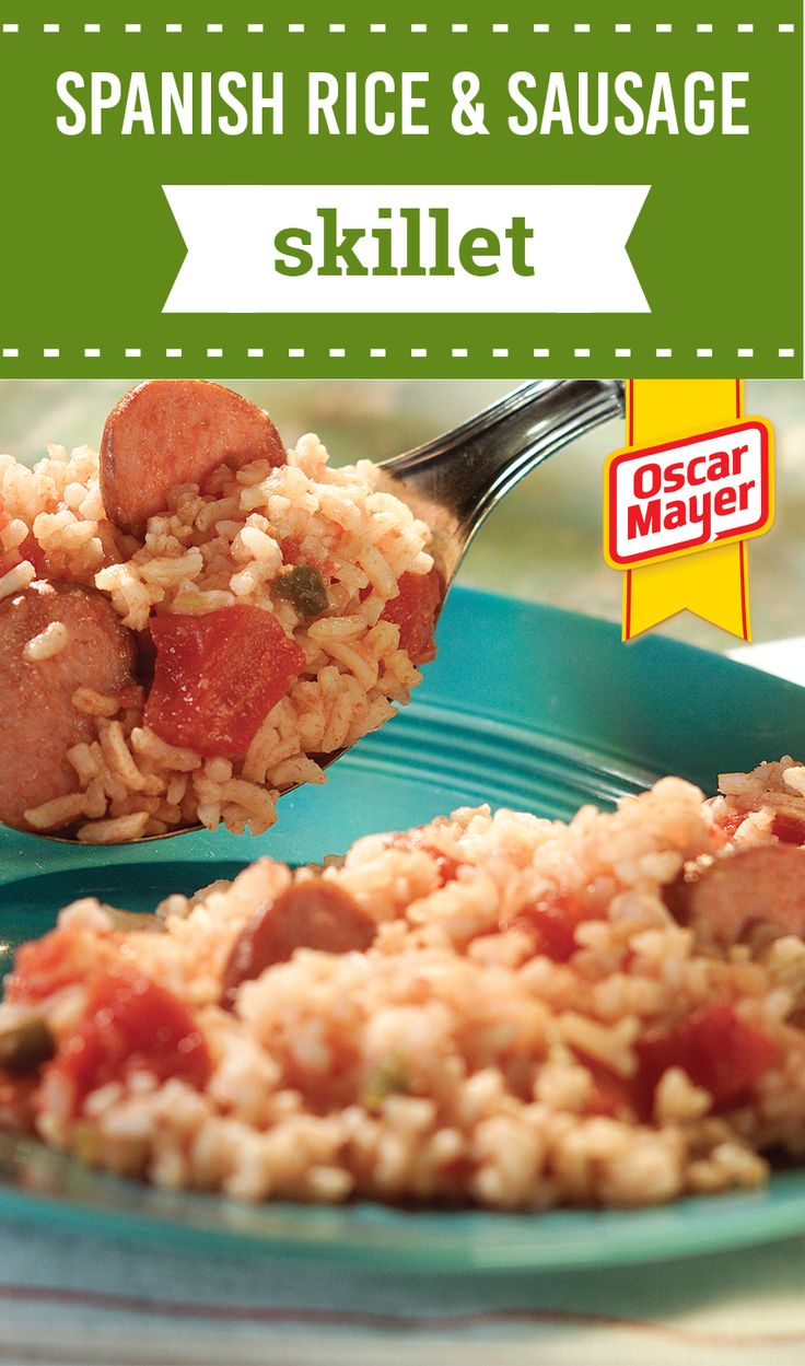 Spanish Rice & Sausage Skillet – Quick-cooking rice simmers in a zesty mixture of stewed tomatoes and turkey smoked sausage for an enticing and easy one-dish meal. Plus, this recipe is ready in just 17 minutes!