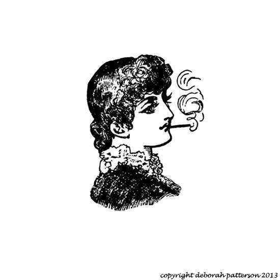 Rubber Stamp Vintage Lady Smoking Lady Cling Foam by laughngypsy