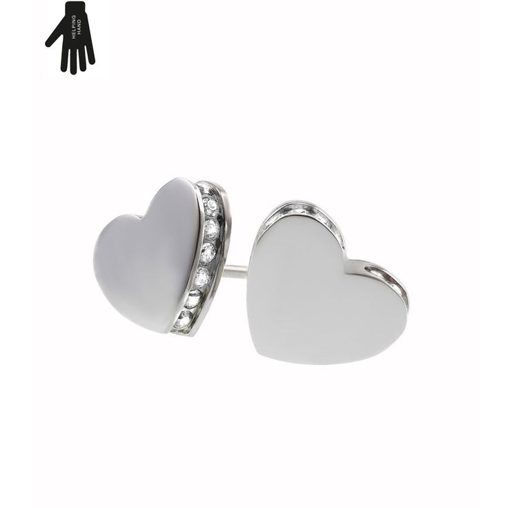 These gorgeous Together Earrings from Swedish jewellery designers Edblad are silver-tone heart-shaped studs lined with zirconia crystals