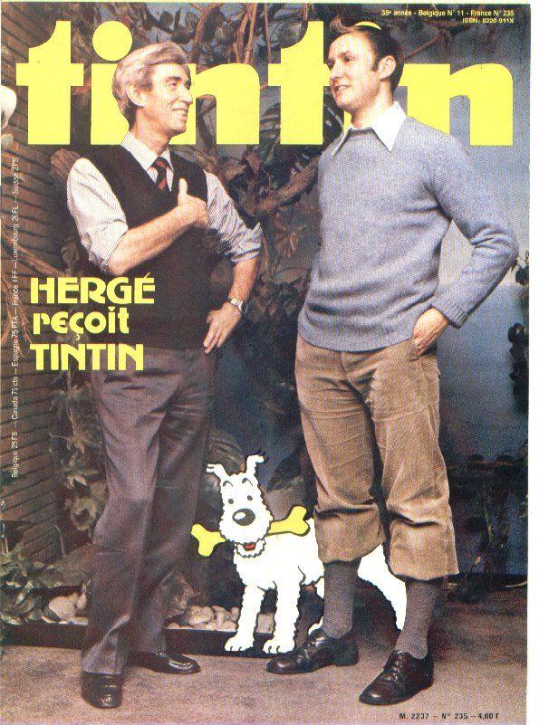 tintin magazine cover // creator meets creation!