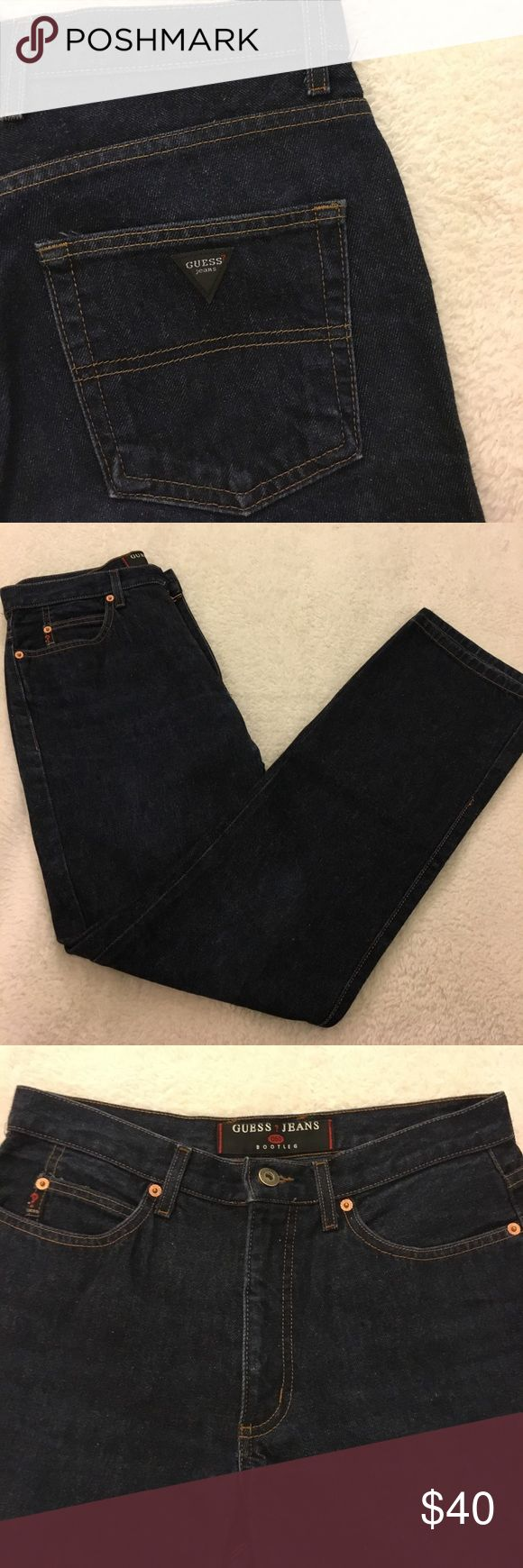 """Guess Bootleg Jeans - Size 31/32 Guess Bootleg Jeans - Size 31"""" / Inseam 32"""". Denim is dark and sturdy. Has the old school Guess symbol on back pocket. Excellent Condition. Guess Jeans Boot Cut"""