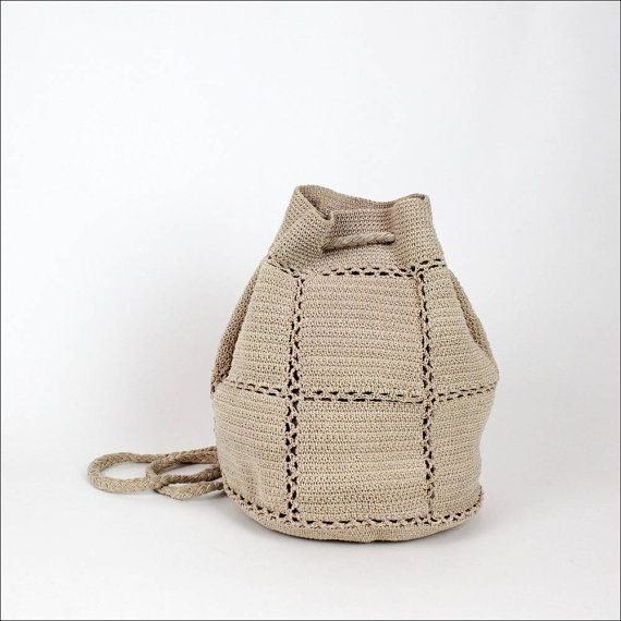 ecru crochet backpack / knit cinch slouchy bucket bag by OmniaVTG, $45.00