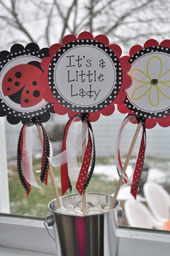 Ladybug Centerpiece Sticks - Ladybug Baby Shower Decorations - Ladybug Birthday Party Decorations - Set of 3