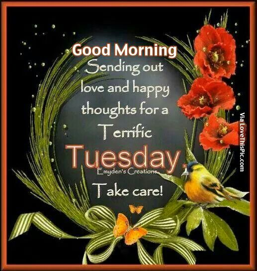 Good Morning, Sending Out Love And Happy Thoughts For A Terrific Tuesday, Take Care
