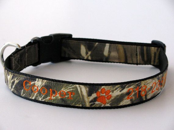 Personalized Camo Dog Collar, Realtree Max 4 Camouflage Adjustable Dog Collar -  Embroidered on Etsy, $27.95