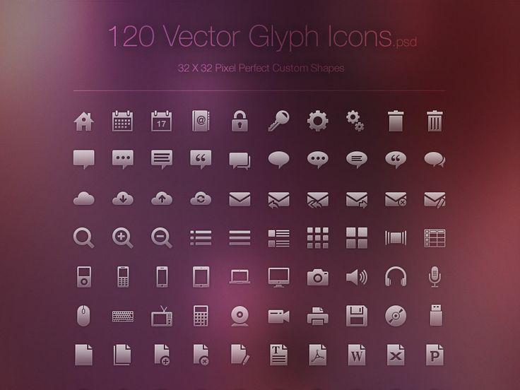 Freebie - 120 Vector Glyph Icons by Ivo Ivanov